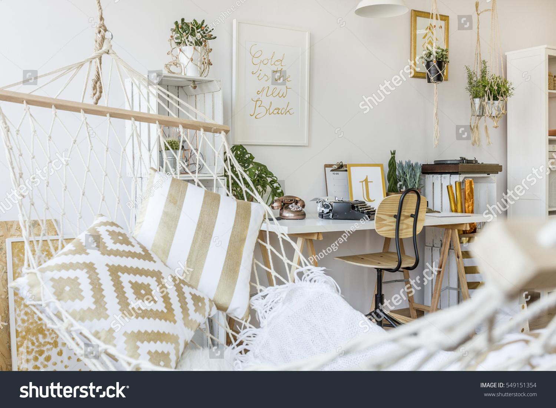 Modern Hammock Living Room Interior Stock Photo