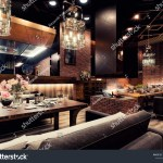 Modern Interior Design Restaurant Whith Fireplace Stock Illustration 1248063172