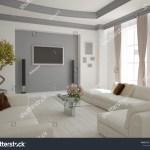Modern Living Room Sofa Curtains Interior Stock Illustration