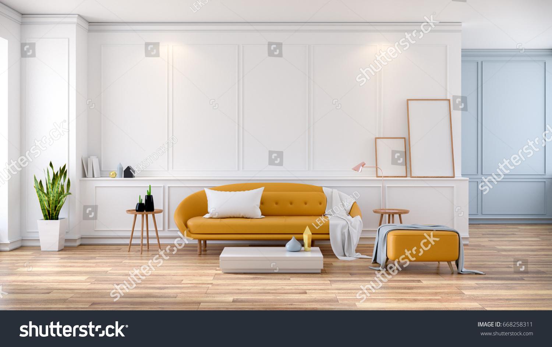 Modern Mid Century Room Interior Yellow Stock Illustration