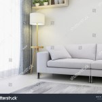 Modern Minimalist Bright Tones Living Room Stock