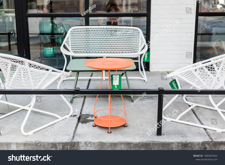 https www shutterstock com image photo modern white metal patio furniture orange 1485987602