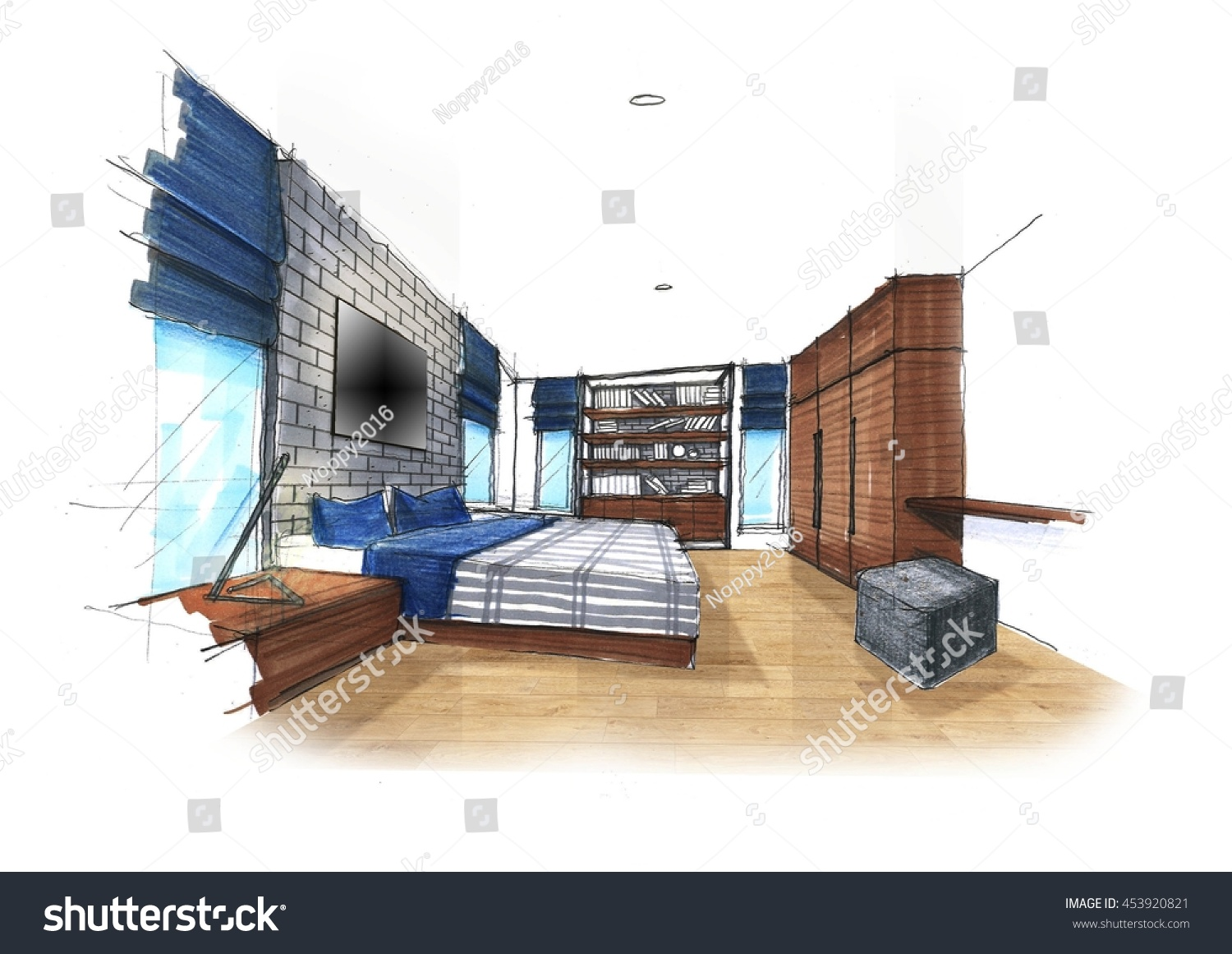 My Sketch Idea Bedroom No Reference Stock Illustration ... on Bedroom Reference  id=27728