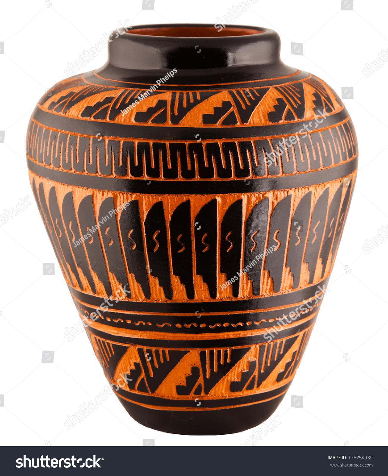 Navajo Native American Clay Pottery Decorative Vase Stock