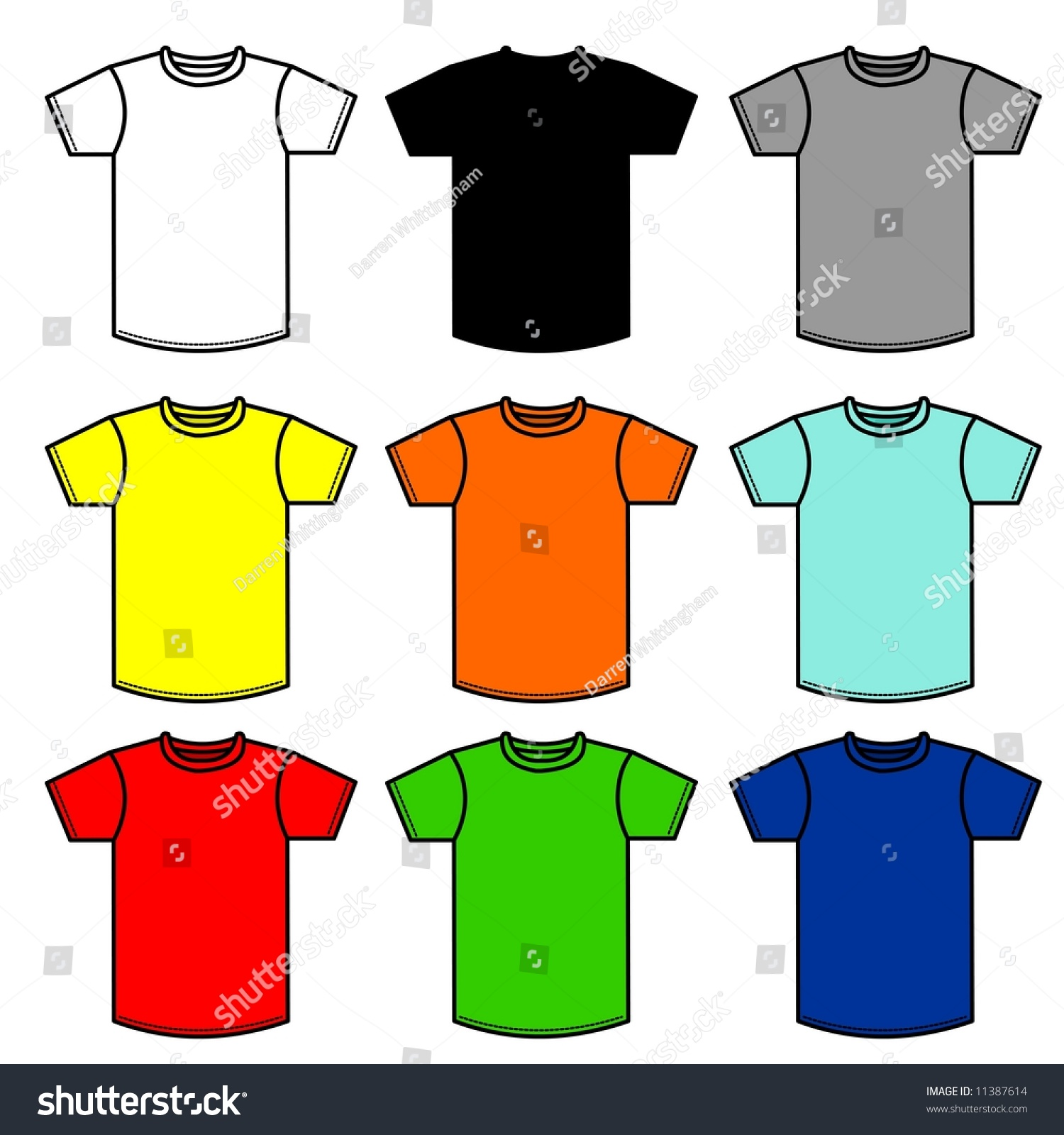 Nine T Shirts Of Different Colors Stock Photo