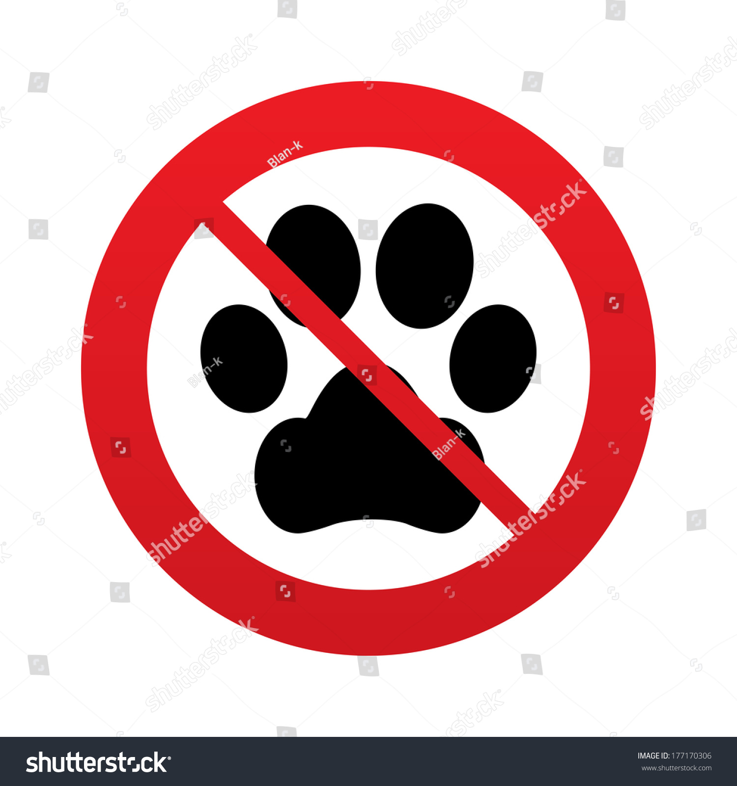 No Dog Paw Sign Icon Pets Symbol Red Prohibition Sign