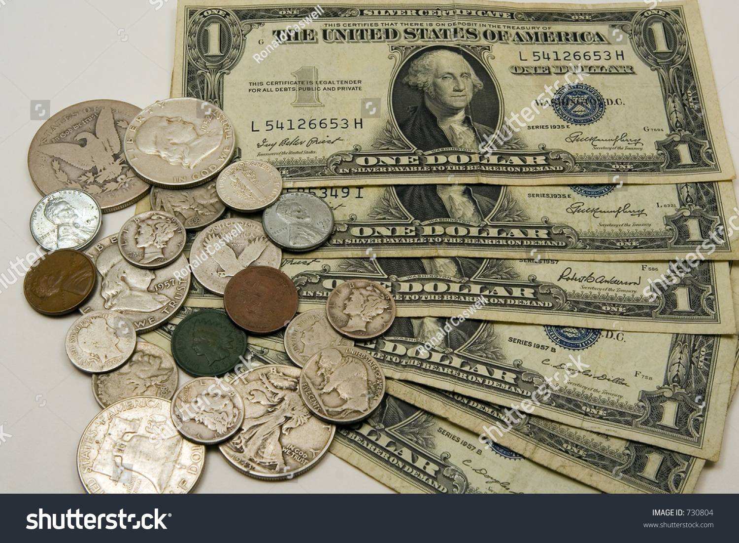 Old American Money Bills Coins Stock Photo