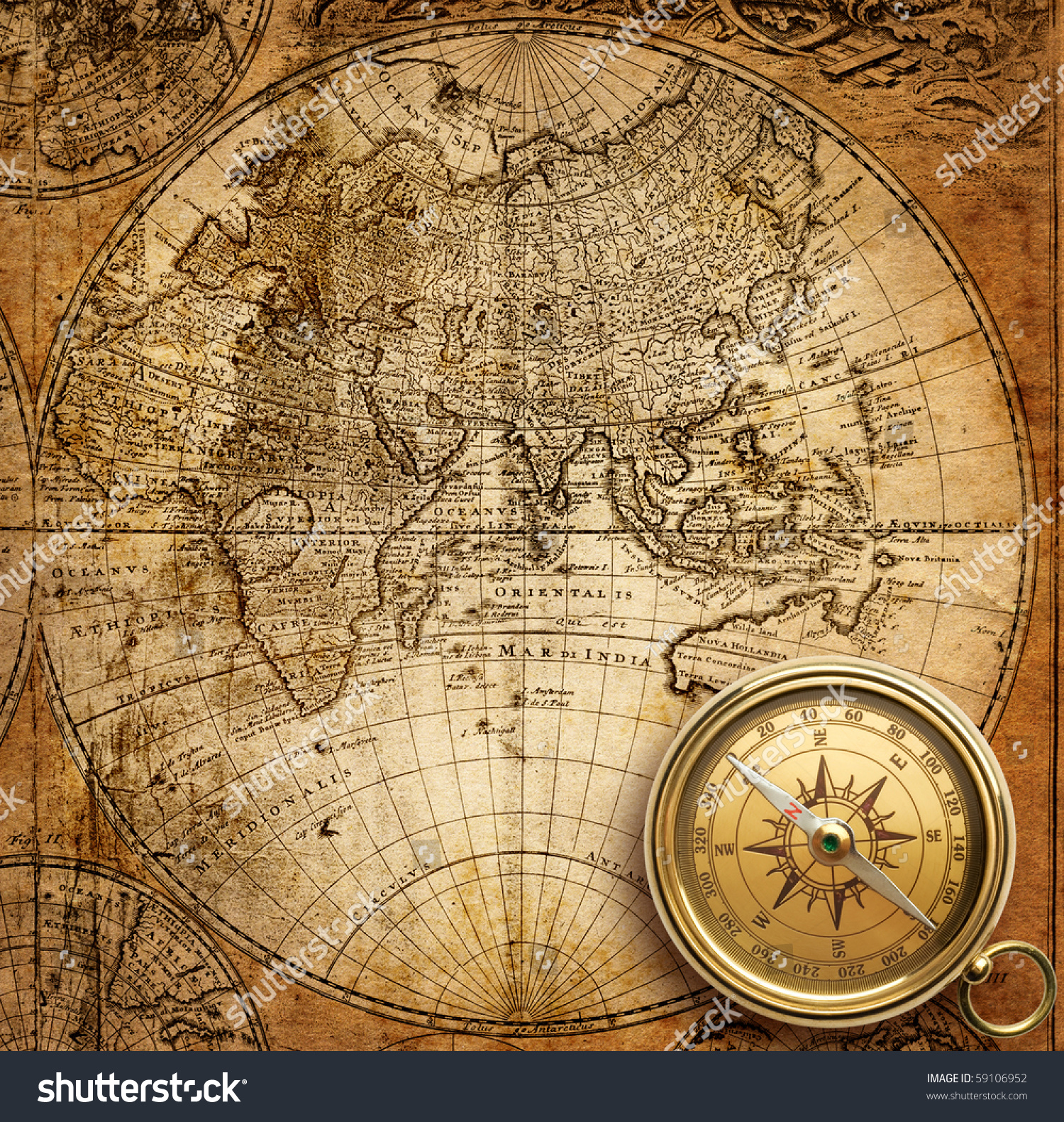 Old Compass Rope On Vintage Map Stock Photo