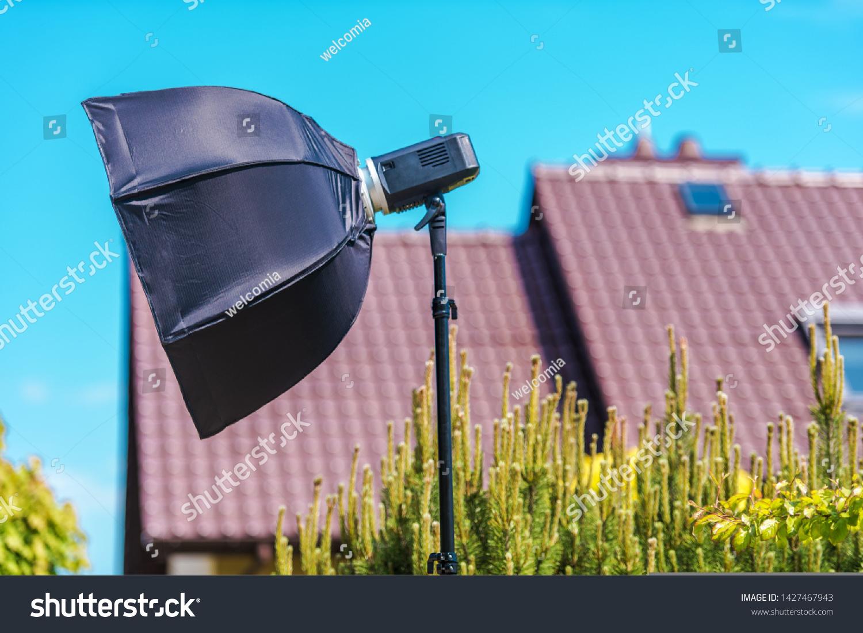 https www shutterstock com image photo outdoor professional photography lighting strobe light 1427467943