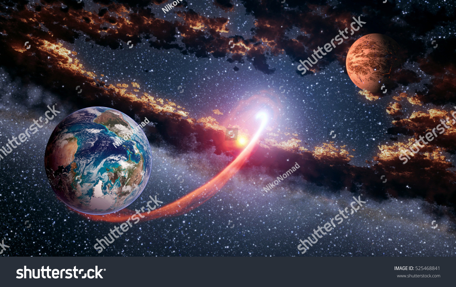 Outer Space Planet Earth Mars Launch Stock Photo