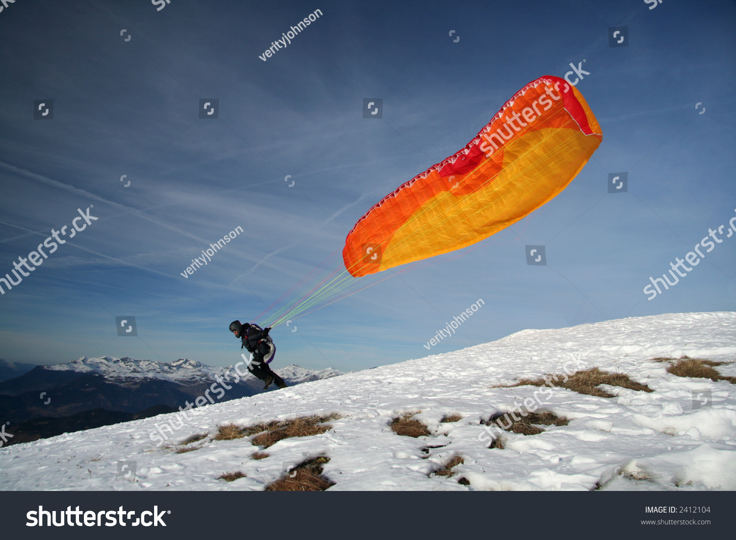 Paragliding Take Off Stock Photo 2412104 : Shutterstock