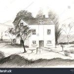 Pencil Drawing Landscape Garden House Stock Illustration 1180715848