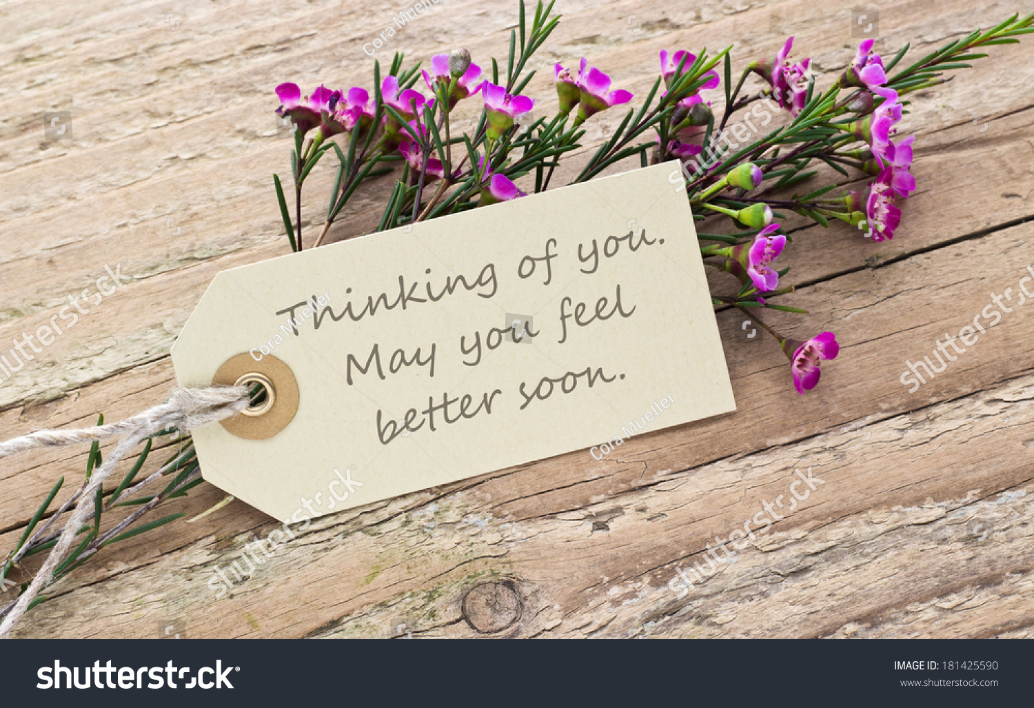 Pink Flower On A Wooden Board With Card Thinking Of You