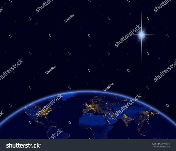 Planet Earth Christmas Star Night Sky Stock Illustration ...