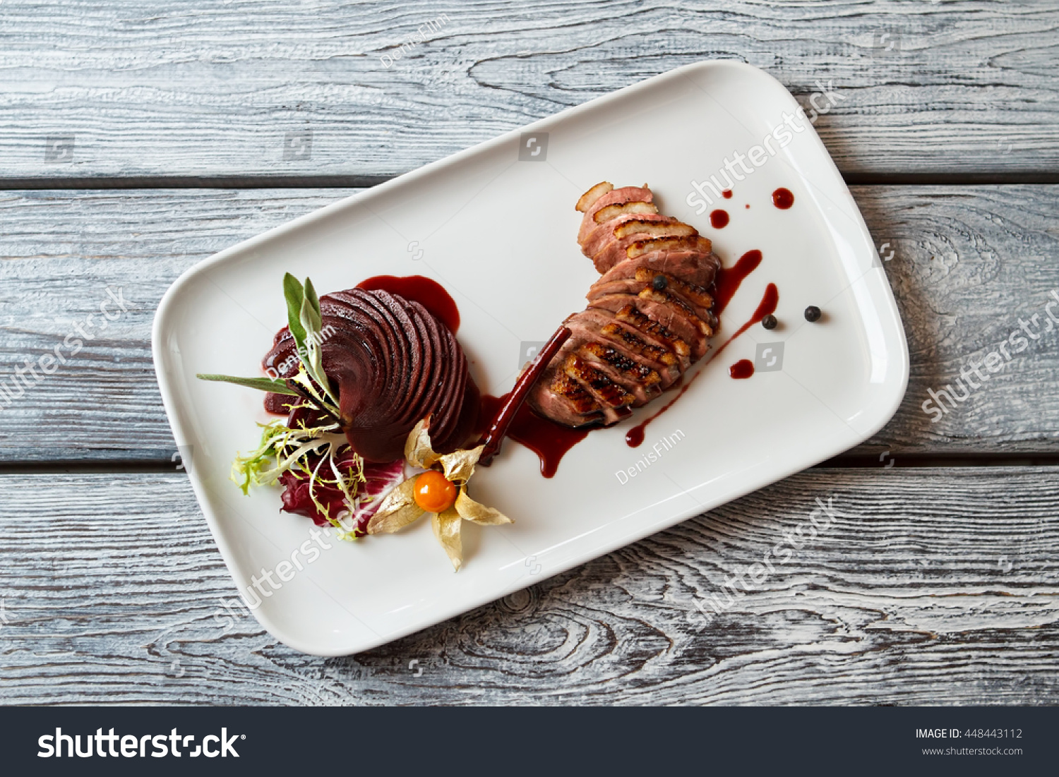 Plate Cooked Meat Sliced Decoration Stock Photo Royalty Free & Plate Decoration Sauce Recipes | Decoration For Home