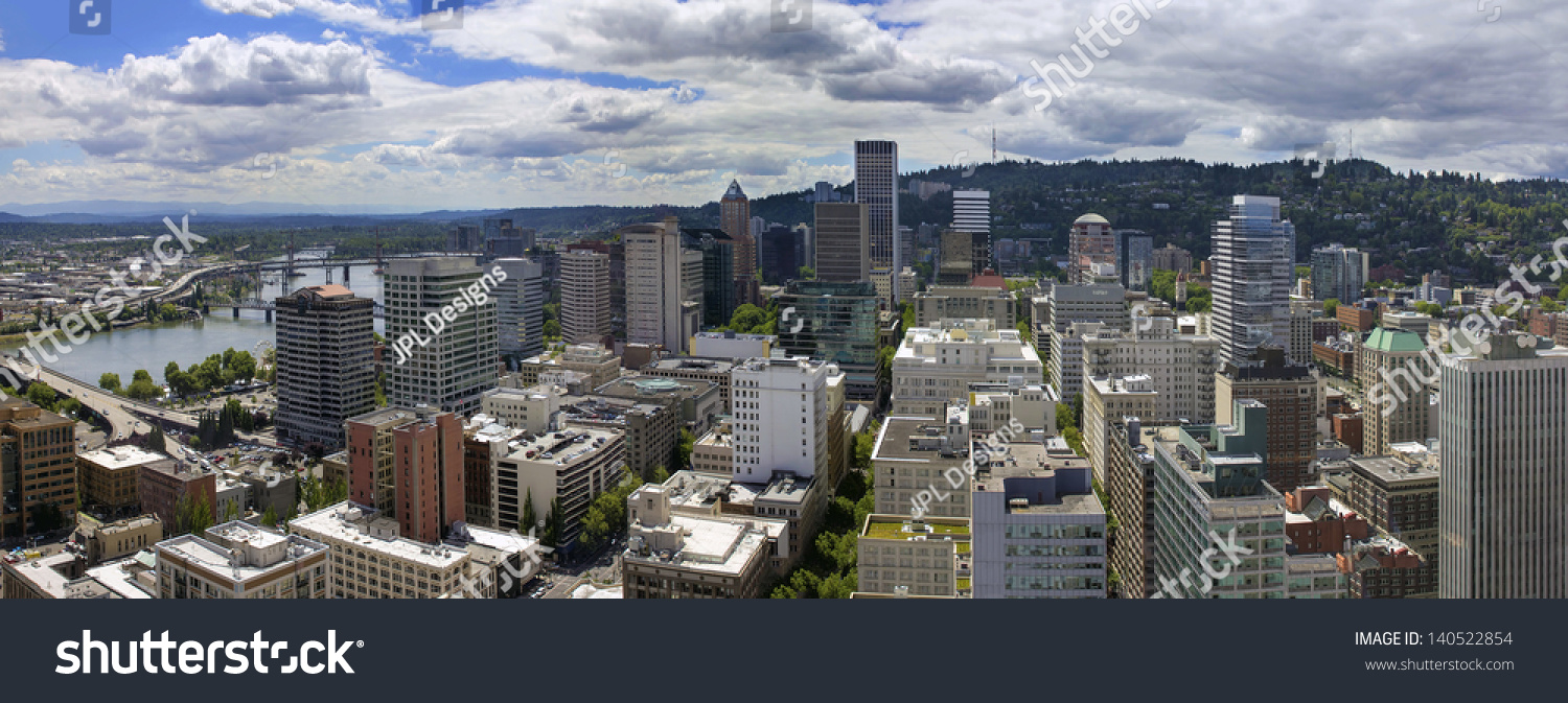 Portland Oregon Downtown Cityscape Aerial View With Cumulus Clouds Panorama Stock Photo 140522854 : Shutterstock