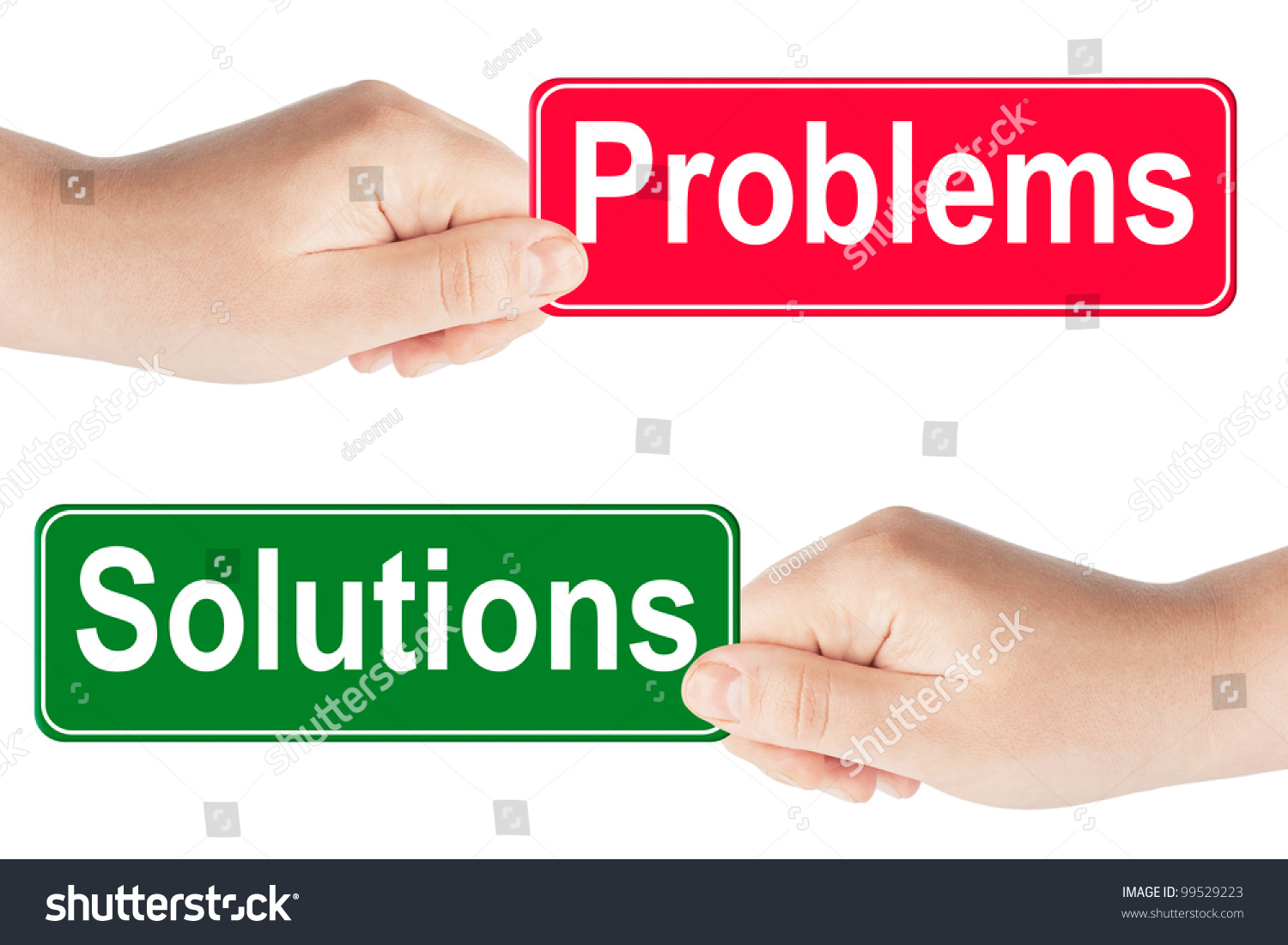 Problems Solutions Traffic Sign Hand On Stock Photo