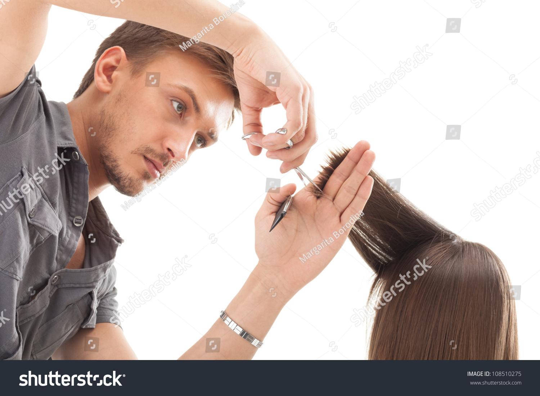 Professional Hairdresser Long Hair Model Stock Photo