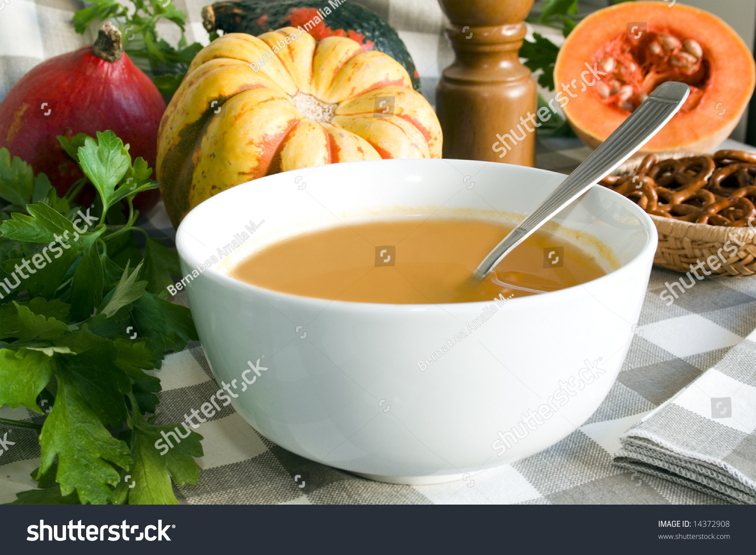 Pumpkin Soup And Different Pumpkin Types Focus On The