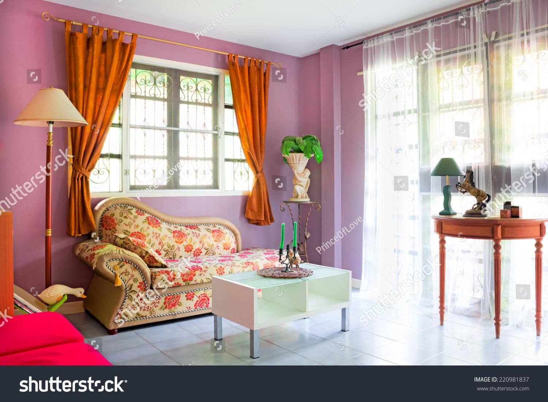 Purple Cozy Living Room Modern Contemporary Stock Photo