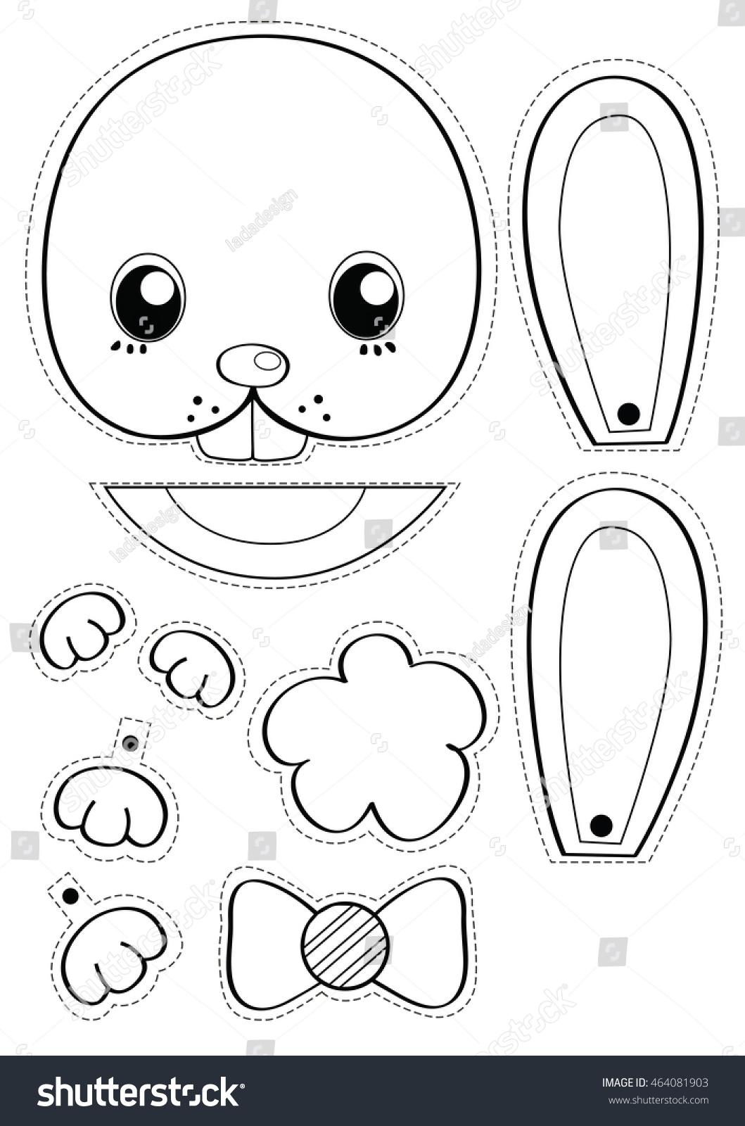 Rabbit Black White Cartoon Painting Cut Stock Illustration