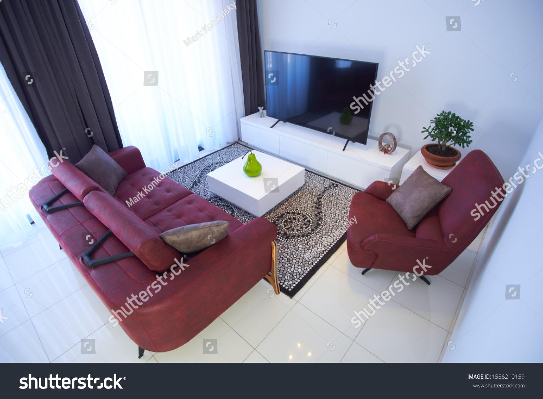 https www shutterstock com image photo real estate living room furniture samsung 1556210159