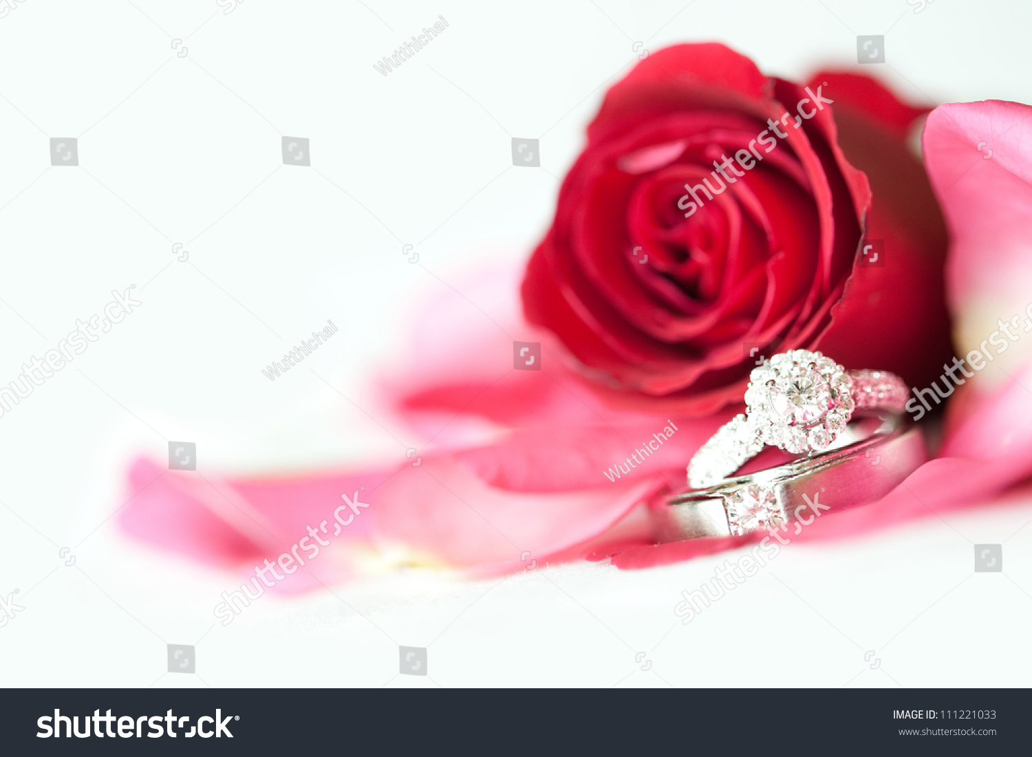 Red Rose Diamond Ring On White Stock Photo 111221033