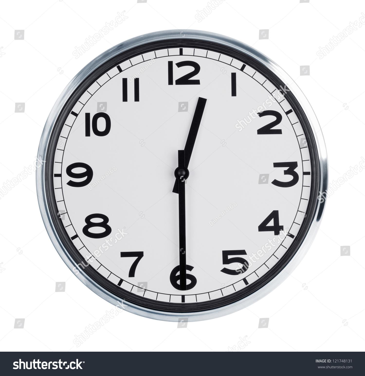 Round Wall Clock Shows Half Past Stock Photo