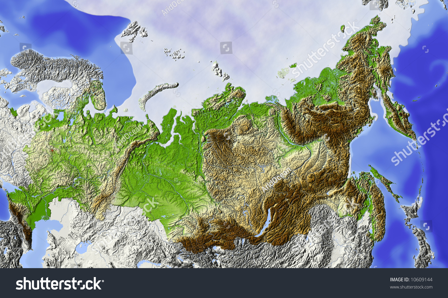 Russia Shaded Relief Map Of Russian Federation With Rivers Major Urban Areas And Polar Ice