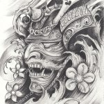 Samurai Warrior Tattoo Designhand Pencil Drawing Stock Illustration 1107636095