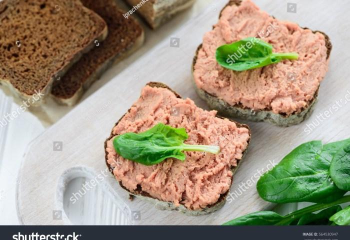 Sandwiches Vegan Pate Black Bread Spinach Stock Photo Edit Now