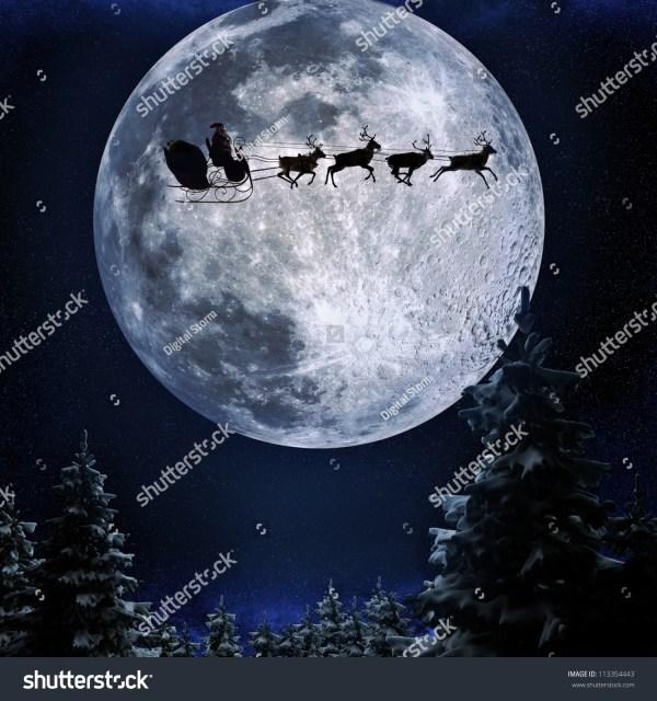 Santa Flying His Sleigh Against Full Stock Illustration ...