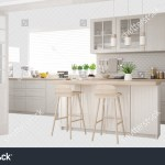 Scandinavian White Kitchen Island Accessories Interior Stock