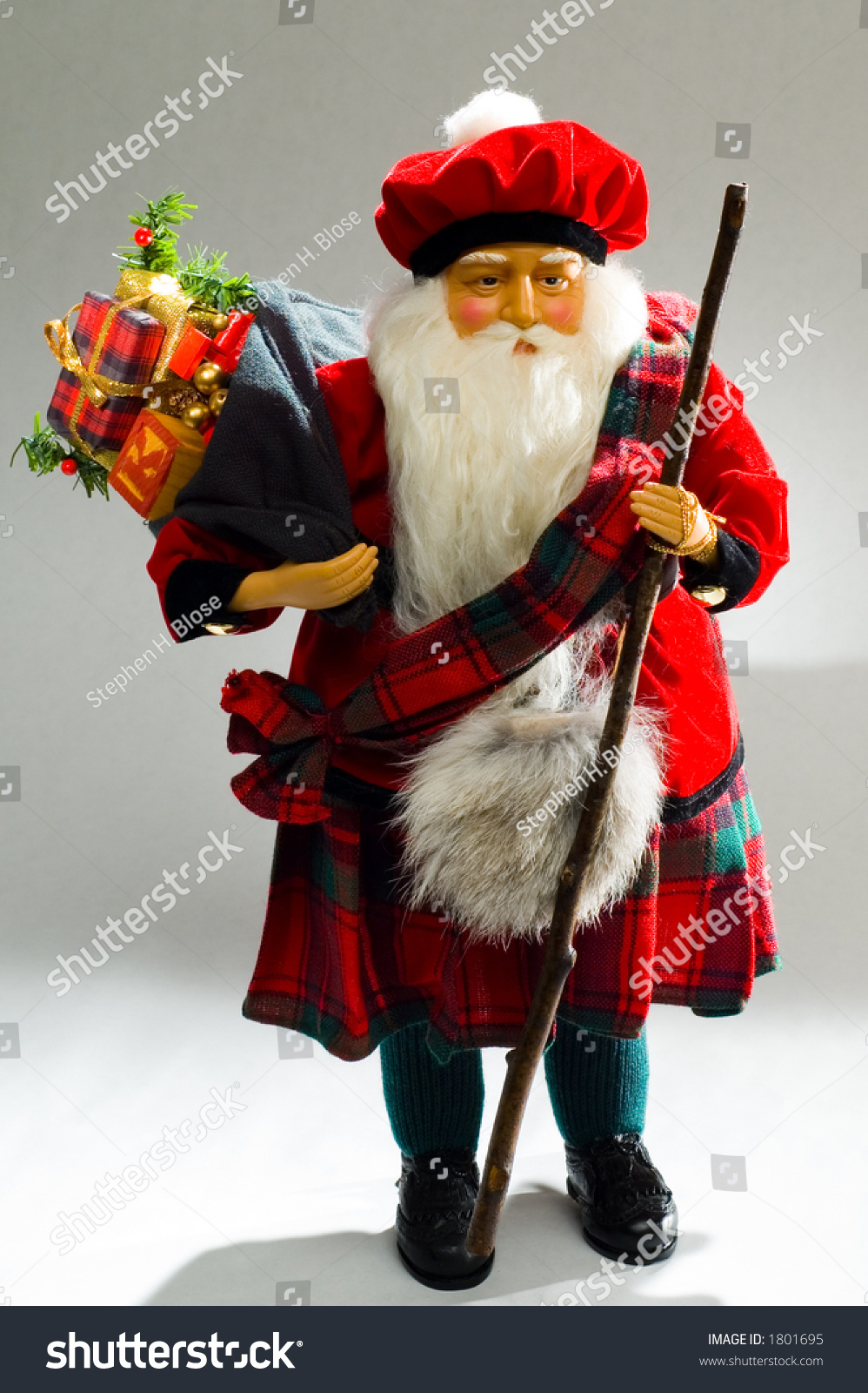 Scottish Santa Claus With Toy Bag Day Time Stock Photo