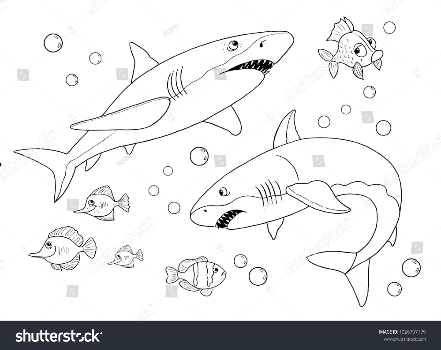 Sea Animals Ocean Sharks Coloring Page Stock Illustration 1026707179