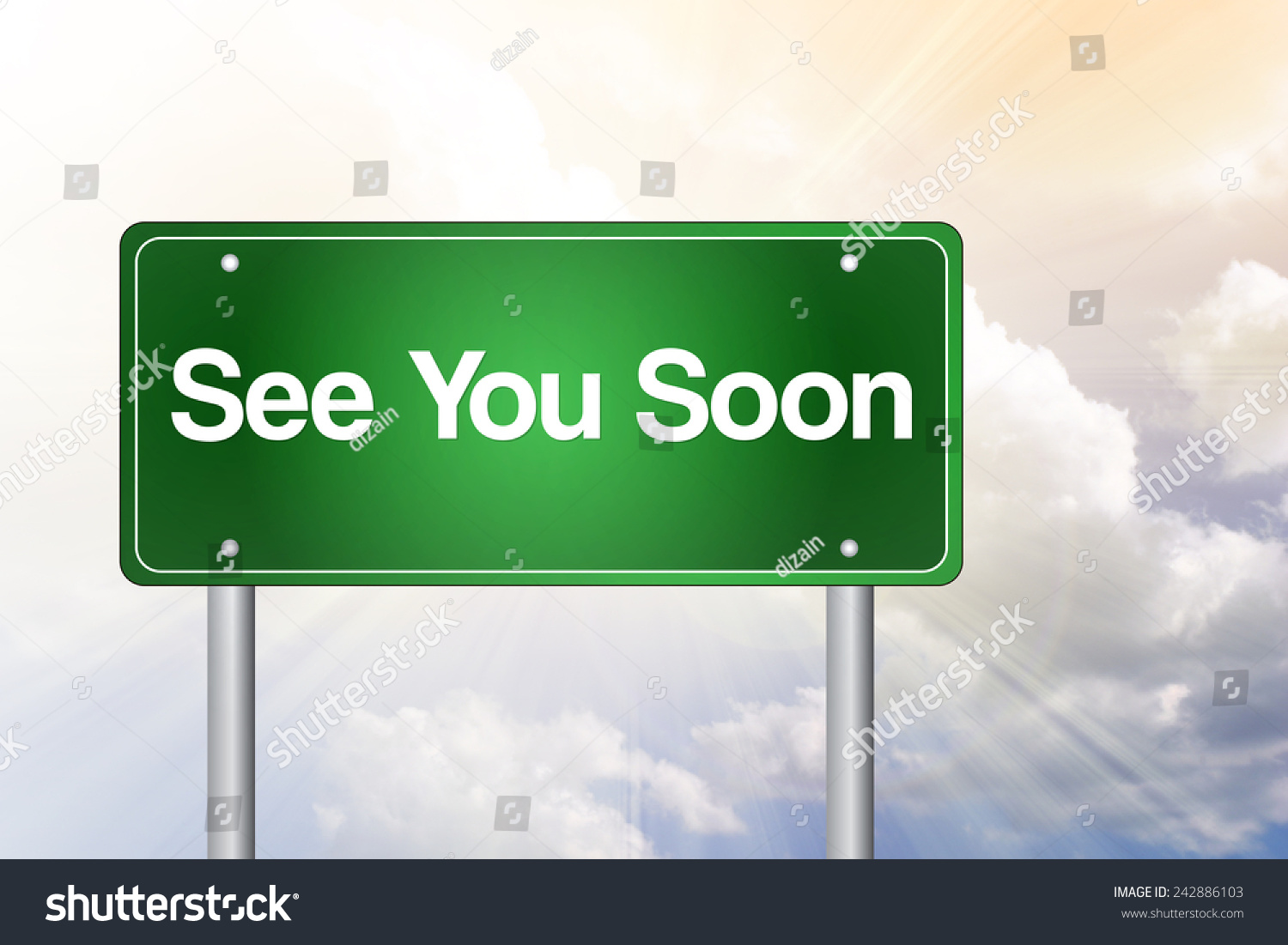 See You Soon Green Road Sign Business Concept Stock Photo