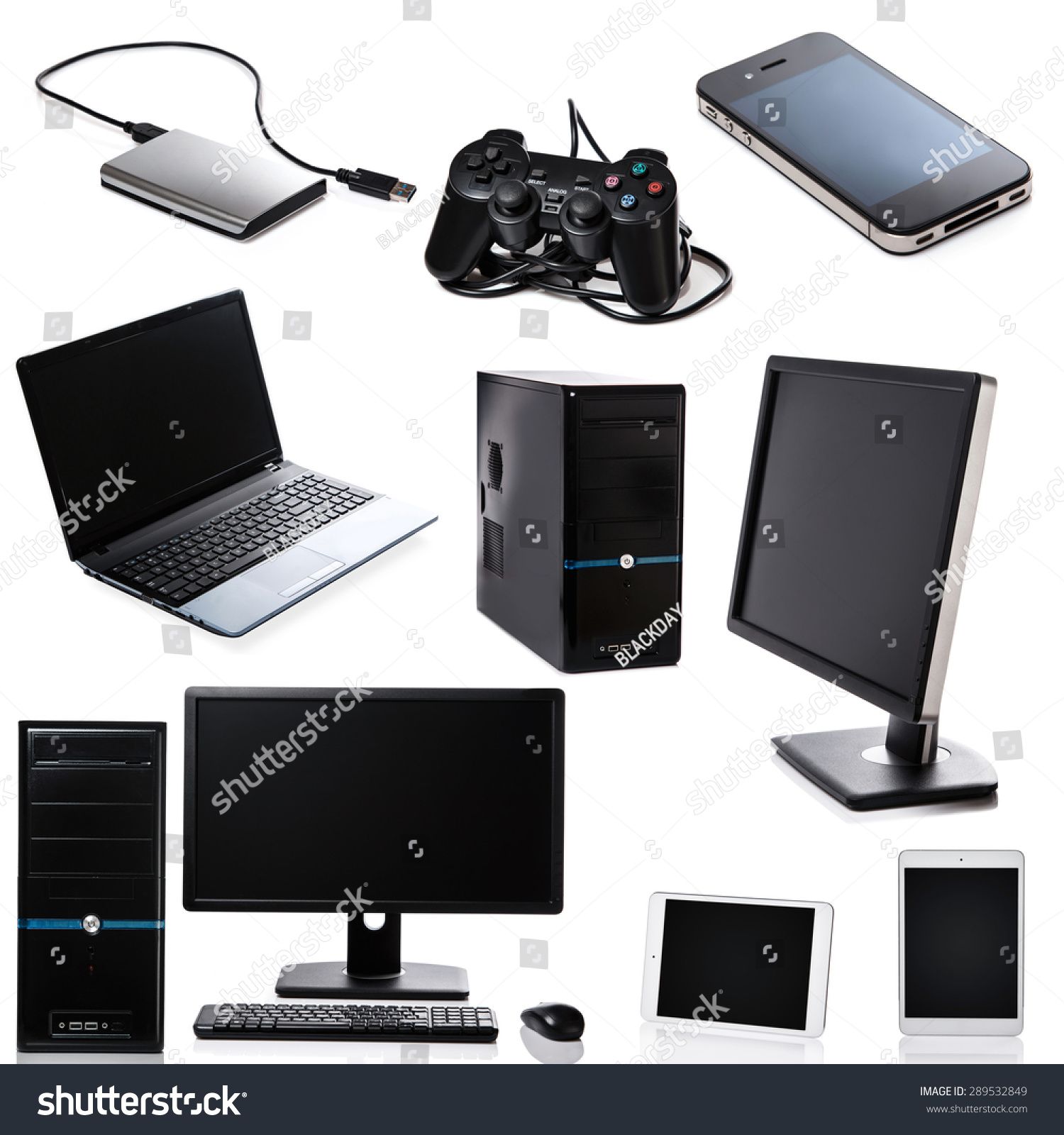 Set Different Computer Devices Hardware On Stock Photo