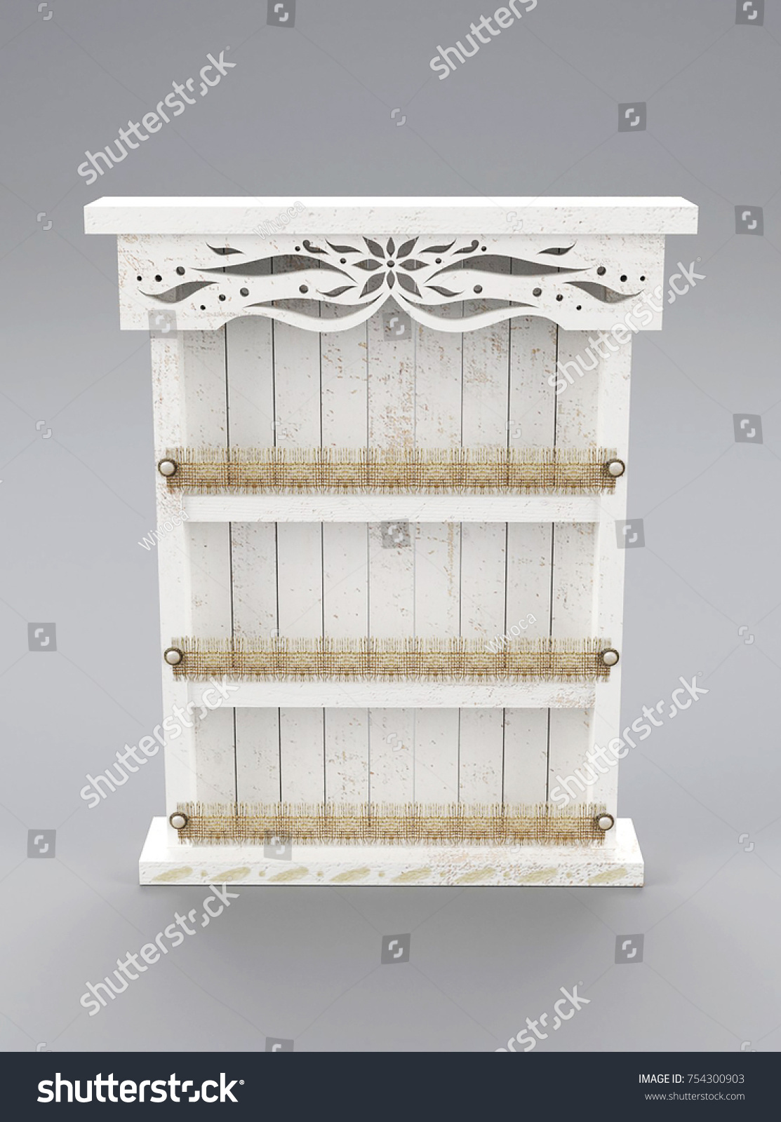 Shabby Chic White Painted Wood Spice Stock Illustration