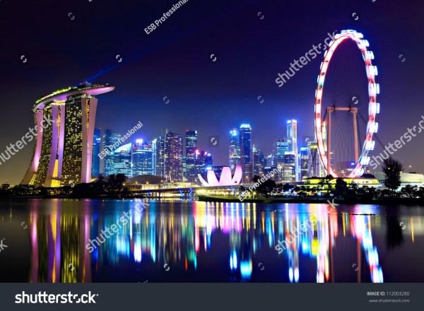 Singapore City Skyline Night Stock Photo 112003280 ...