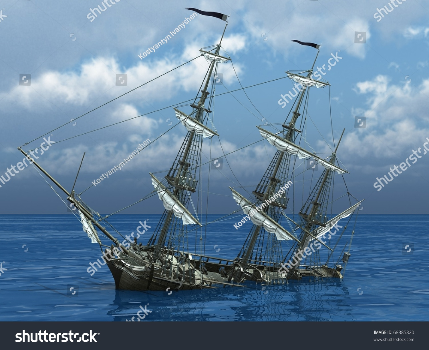 Sinking Ship Sea Stock Illustration