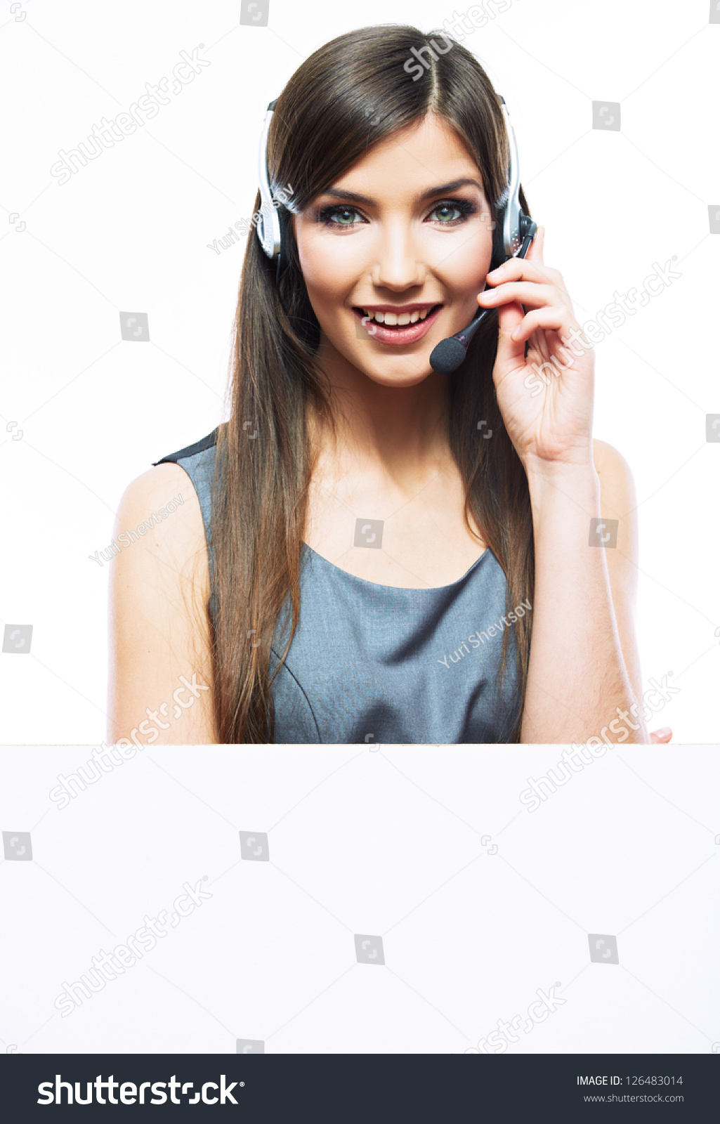 Smiling Business Woman With Big Blank Board Close Up