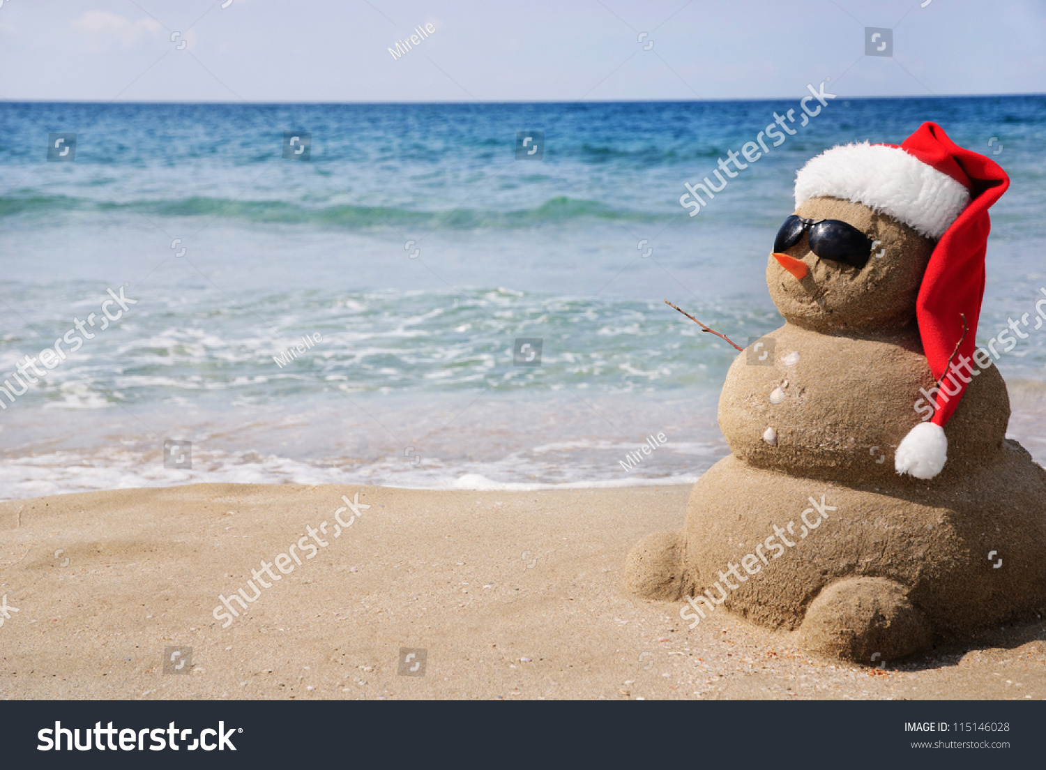 Snowman Made Out Sand Holiday Concept Stock Photo
