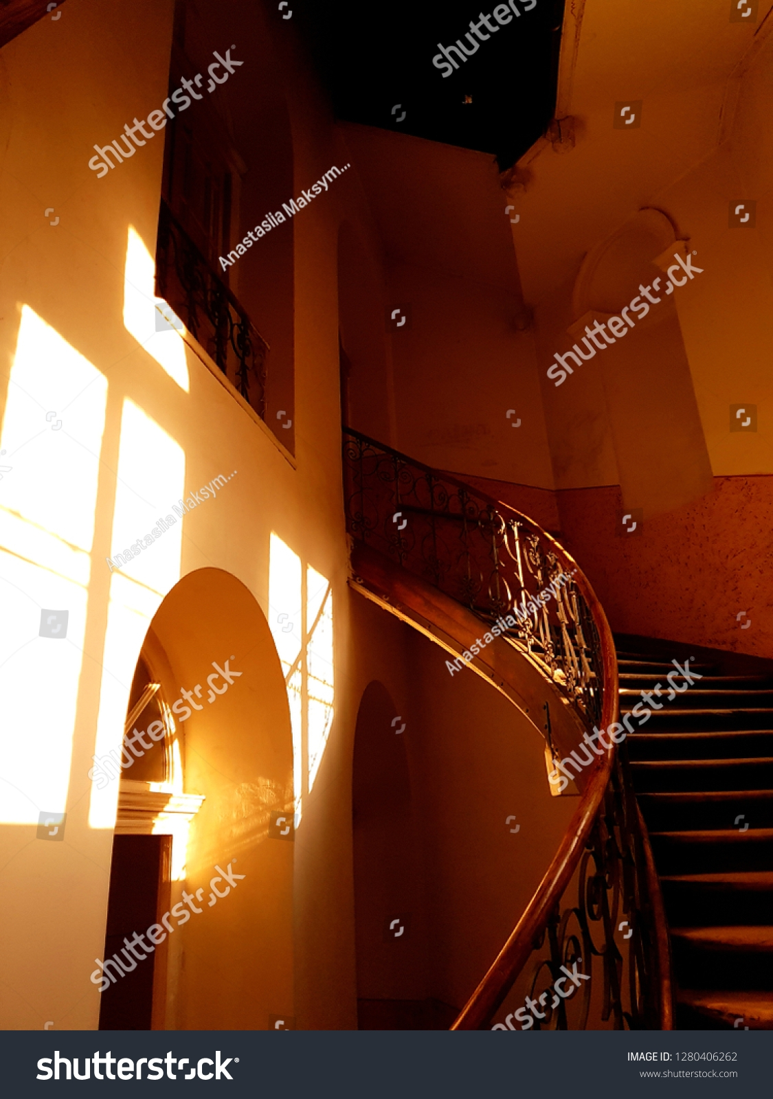 Spiral Staircase Attic Old House Sun Stock Photo Edit Now 1280406262   Spiral Staircase To Attic   Diy   Basement   Remodeling   Creative   Small
