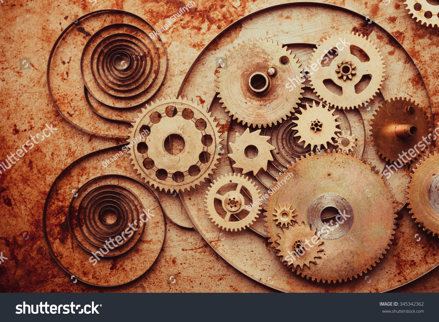 Steampunk Background Mechanical Clocks Details Over Stock