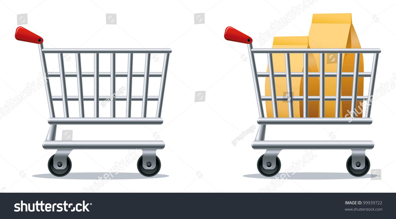Stylized Icons Empty Full Shopping Cart Stock Illustration