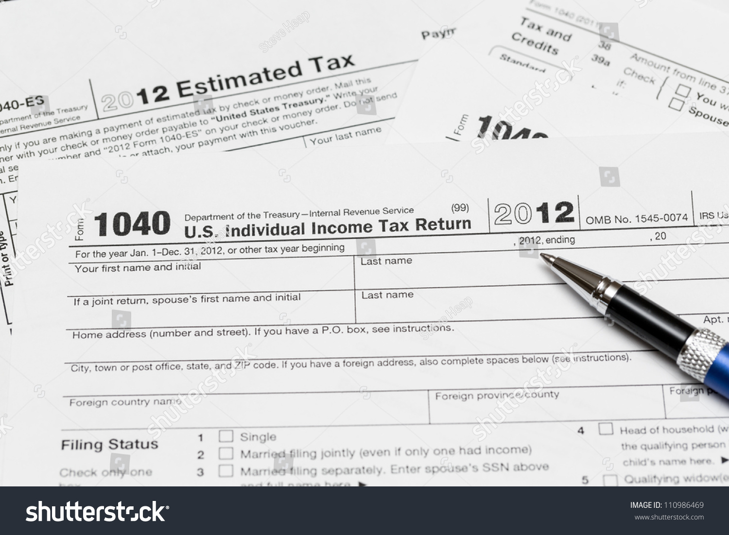 Tax Form Tax Year Stock Photo