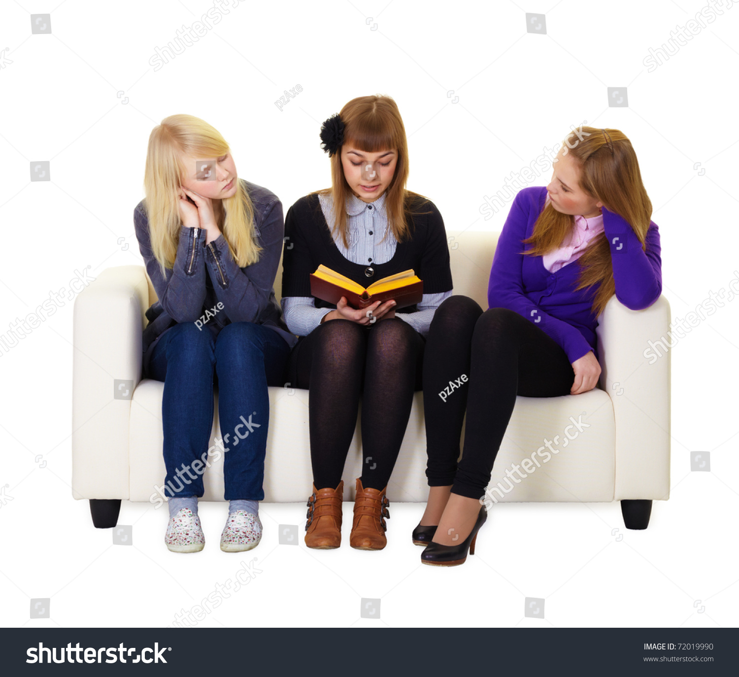 Teen Girl Reading Book Her Friends Stock Photo