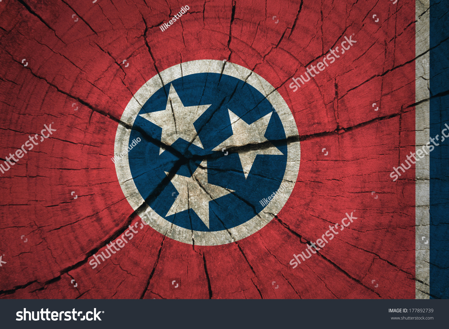 Tennessee State Flag Painted On Old Stock Photo