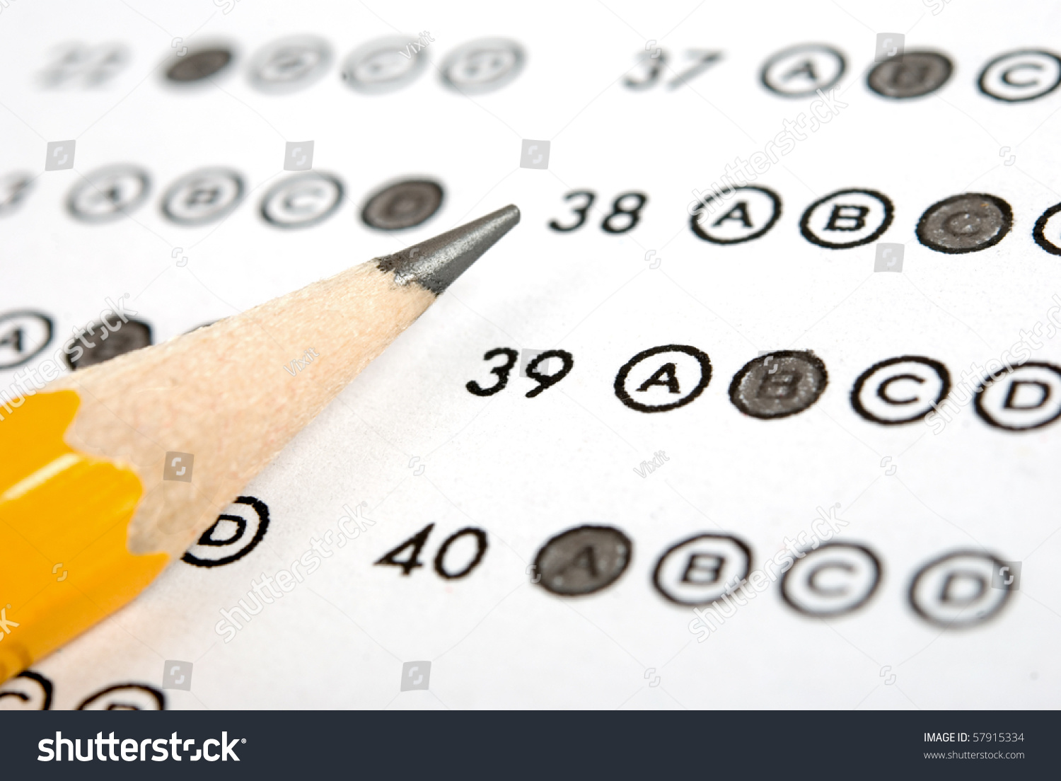Test Score Sheet With Answers Stock Photo