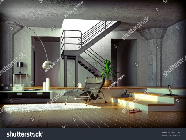Computer Generated 3d Image Modern Interior Stock ...